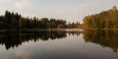 The Little Green (modestmoze) Tags: nature naturephotograph 2016 500px october autumn outside outdoors explore exploring trees treeline lake water waves wind day warm reflection small shadows green brown beautiful view travel white sky clouds grey black red orange mirror