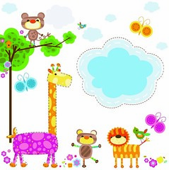 animals background (Giấy dán tường, Thảm trải sàn, Sàn nh) Tags: bear flowers friends wild wallpaper sky baby plant green bird nature colors animals kids illustration clouds butterfly insect happy monkey design leaf funny colorful natural sweet decorative background wildlife ornament jungle backdrop giraffe ornate decor decorate