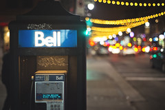 St-Laurent by night (Playing_with_light) Tags: christmas street old cars night season lights nikon bell phonebooth montreal telephone payphone stlaurent holliday d800