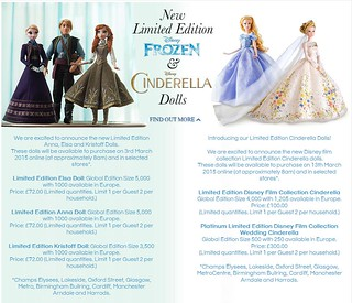 Frozen and Cinderella Limited Edition Dolls - UK Disney Store Announcement - 2015-02-26