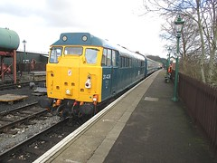 31438 at North Weald, EOR Epping Ongar Railway 21.02.15 (Trevor Bruford) Tags: blue english heritage electric train br diesel north railway locomotive ee epping weald ongar eor 31139 31438 31538 d5557