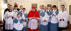 Cardinal Burke posing for a group photo after Mass (pchidell) Tags: cardinal mass burke wirral eucharist tridentine tridentinerite domeofhome cardinalraymondburke sspeterpaulandphilomena canonmontjean