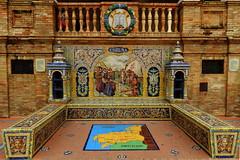Banco de cermica dedicado a La Corua  en la Plaza de Espaa de Sevilla (Rafael Gomez - http://micamara.es) Tags: plaza en espaa de 1 la sevilla corua banco cermica azulejos dedicado provincias espaolas