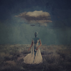 blue sky days (brookeshaden) Tags: cloud inspiration painterly field fog fairytale paint darkness surrealism painted bluesky creepy digitalpainting motivation selfportraiture whimsical select fineartphotography darkart conceptualphotography brookeshaden girlinpaint