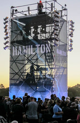Hamilton (Jocey K) Tags: park newzealand christchurch sky people lights evening words platform event northhagleypark hagelypark cricketworldcup2015newzealandopeningceremony