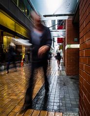 Raindrop Hustle (buddythunder) Tags: newzealand motion blur wet rain businessman movement shiny bricks suit lane wellington shops chews