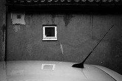 Composition (Georgios Karamanis) Tags: roof bw white black reflection window car wall sweden uppsala antenna karamanis
