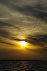 Flying to the Sun (jameskirchner15) Tags: clouds sunset flying vaportrail contrail cirrus lake lakehuron michigan atmosphere