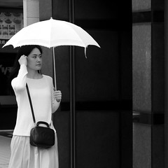 By looking at her reflection (pascalcolin1) Tags: tokyo ombrelle parasol femme woman reflet reflection photoderue streetview urbanarte noiretblanc blackandwhite photopascalcolin japan carr square