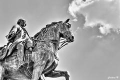 Carlos III (CristinaH-Fotografia) Tags: puerta sol madrid estatua sculpture sculptures arte rey carlos caballo españa spain turismo nacional interior hdr blackandwhite blancoynegro bw cielo