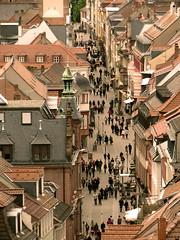 Matchstick Heidelbergers (DocHauser) Tags: street germany deutschland heidelberg lowry hauptstrasse heiliggeistkirche churchoftheholyspirit