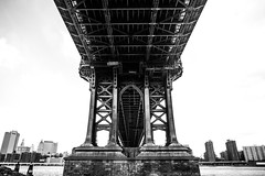 Manhattan Bridge (Thomas Hawk) Tags: newyorkcity bridge bw newyork architecture brooklyn unitedstates fav50 unitedstatesofamerica dumbo manhattanbridge fav10 fav25