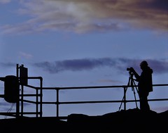 Silhouetted Sunrise 'Snapper'- St. Mary's Island (Gilli8888) Tags: whitleybay sunrise lighthouse stmaryslighthouse tyneandwear dawn clouds sky light batesisland coast eastcoast northsea coastline seascape silhouette photographer camera linear fence
