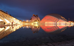 Ciudad de las Artes y las Ciencias - Valncia, Spain (Andrea Moscato) Tags: city blue santiago light shadow red reflection building art water yellow architecture night dark community europe view arte vivid structure architectural architect calatrava vista acqua complex arco palau notte architettura valenciana cultural citt notturno riflesso iberian umbracle architetto hemisfric valencian andreamoscato
