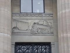 Laker and Steam Locomotive (jmaxtours) Tags: 1931 hall hamilton transportation basrelief cnr canadiannational banquethall hamiltonontario canadiannationalrailway liunastation cnrailwayjamesstreetstation laborersinternationalunionofnorthamericaliuna lakerandsteamlocomotive