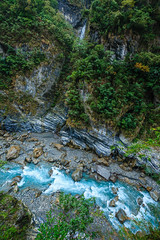 Taiwan-121116-487 (Kelly Cheng) Tags: travel blue color colour green tourism nature water vertical landscape daylight colorful asia stream day outdoor taiwan nobody nopeople gorge colourful tarokonationalpark tarokogorge  traveldestinations  northeastasia