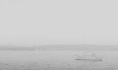 "Misty ""Chez Ripples"" (OzzRod) Tags: blackandwhite mist lake monochrome rain pentax yacht gray lakemacquarie k3 pentaxart hdpentaxdfa2470mmf28"