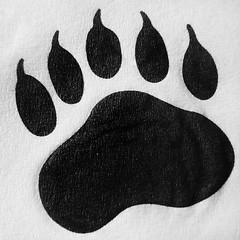 Paw Print (arbyreed) Tags: arbyreed macromondays opposites printedandnotprinted bear utah blackandwhite napkin dinernapkin blackbeardiner orem utahcountyutah close closeup ink monochrome hmm serviette