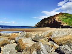 Saltburn-by-the-Sea- Skinningrove (choong mun) Tags: green cloud sky mountain rocks england summer beach sea iphone6plus