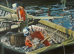 Zofia K. Aue:  The mackerel are running (Walter A. Aue) Tags: zofiakaue paintings malerei gemaelde visualarts figurative puzzling fishermen fish boat mackerel