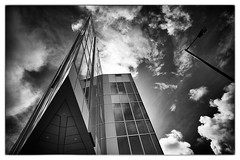 Liverpool, England 2 (Robert Dillon Photographer) Tags: liverpool sky blackwhite bw office modernbuilding reflection