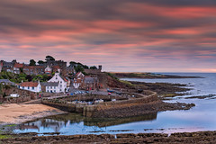 Crail Harbour (JSP92) Tags: crail harbour sunrise sun cloud sea fife boats houses gable end water red white wash
