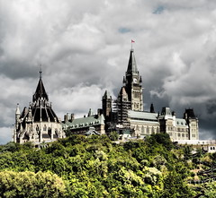 Peace amidst the storm (vic.devo) Tags: ottawa parliamenthill peacetower clouds architecture clock