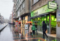 Sarajevo, la rue du marchal Tito (Vincent Rowell) Tags: jpeg tonemapped balkans2016 bosniaandherzegovina sonyhandheldtwilightfunction sarajevo rain marsalatito