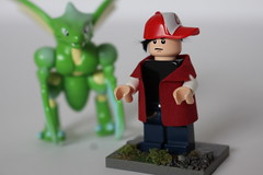 Pokmon_Red_1 (TH3_J03Y_G) Tags: lego custom minifigure video game fantasy scifi pokemon generation one rpg red blue scyther nintendo tomy auldey moc cape madness bricklink fabric coat fan art gamefreak