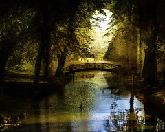 THE Moon was but a chin of gold (BirgittaSjostedt) Tags: autumn fall park bridge water texture paint painting stream house landscape sun sweden poetic mystic creation birgittasjostedt outdoor serene scene river magicunicornverybest