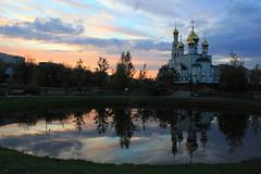 Sunset in Preobrazhenskiy Park, Abakan, Russia (fionxl) Tags: sunset orthodox church abakan russia pond water siberia khakassia park preobrazhenskiy transfiguration cathedral