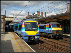 Two different 'Ones' (Jason 87030) Tags: ipswich railwaystation suffolk uk one toc refresher 90010 170202 dmu unit platform light clouds colour color train eastanglia londonliverpoolstreet kodak august 2006 greatbritain computer visiting effect portfolio camera shot site photostream filejpgpresentation fascination extreme visit display vista weather season unitedkingdom 2016 media amateur