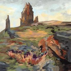 Shiprock, New Mexico (sharonbarfoot) Tags: shiprock newmexico acrylic southwest landscape abstract