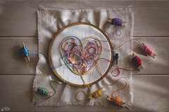 Lo de corazones (Ali Llop) Tags: colors heart blue red green yelow orange pink purple rainbow topview cute fun sweet lovely thread sewing white table homemade light shadow overheadview multicolor mess