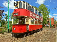 London Tram 1858, waiting in the sunshine. East Anglia Transport Museum. 16 05 2015 (pnb511) Tags: eastangliatransportmuseum eatm tram tramway tramline london transport cobble stones tree sky