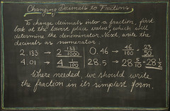 5th Grade: Math; Fractions: changing a decimal number into a fraction (ArneKaiser) Tags: 5thgrade autoimport edited mrkaisersclass pineforestschool waldorf waldorfjourney chalk chalkboard math flickr