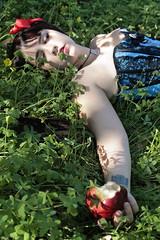 Snow White (Megan N. Prieto) Tags: blue red portrait woman white snow sexy verde green art apple up lady de photography mujer model women pretty pin peace chica hand princess cuento manzana sleep retrato magic country january dream disney lips modelo enero fairy fotos preciosa barcode campo bite corset labios barras monte poison conceptual princesa guapa sesion tale seorita muerta veneno sueo roja hadas magia expiration durmiendo blancanieves codigo 2015 rojos bocado