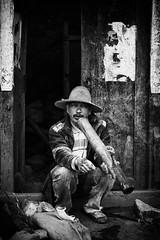 Yunnan's smoke culture~-2 (~mimo~) Tags: china portrait blackandwhite man rural asia smoke pipe yunnan nicotine honghe mimokhairphotography