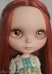 OOAK Hand-Painted Eye Chips for Blythe Doll - Sparkling Citrus Orange Slice by Oly in Wonderland