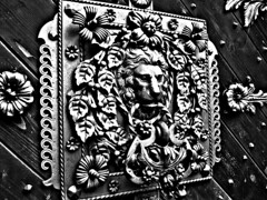 Lion (svatava_teflov) Tags: door camera wood old blackandwhite bw black flower detail history leave leaves metal closeup century canon dark wooden details lion fake noflash bandw makro hdr closer mistery metalflower woodendoor canoncamera metallion theblacktower metalleave