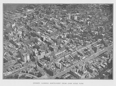 Sydney, north-west over Hyde Park - Aeroviews of Sydney by Sir Ross Smith and Frank Hurley 1920 (AndyBrii) Tags: photos aerial 1919 1920 keithsmith rosssmith vickersvimy frankhurley englandtoaustralia firstaeroplanevoyager