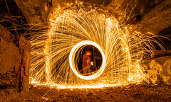 steelwool (SpotShot) Tags: longexposure lightpainting wool canon painting eos licht exposure steel tunnel fisheye 7d 8mm walimex malen stahl langzeitbelichtung f35 steelwool wolle stahlwolle canoneos7d walimex8mmf35