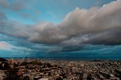 Dark and Stormy (morozgrafix) Tags: sanfrancisco california city sky clouds view unitedstates tankhill tankhillpark