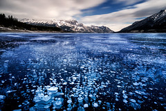 Frozen in Time | Abraham Lake, Canadian Rockies (v on life) Tags: longexposure blue winter snow canada mountains night frozen jasper alberta banff frozenlake icefieldsparkway canadianrockies abrahamlake frozenbubbles methanebubbles