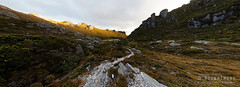 20150204-69-Lake Cygnus afternoon pano (Roger T Wong) Tags: panorama sunlight mountain trek outdoors nationalpark afternoon walk pano australia hike tasmania np bushwalk quartzite tramp wha ptgui southwestnationalpark westernarthurs canonef24105mmf4lisusm worldheritagearea canon24105 lakecygnus canoneos6d westernarthurrange