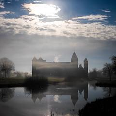 Hiding in the mist (Wouter de Bruijn) Tags: shadow mist castle fog contrast landscape fujifilm oostkapelle westhove xt1 fujinonxf35mmf14r mantelingen