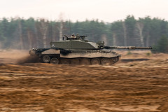 Challenger 2 Tank Moving Quickly During Exercise in Poland