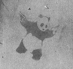 We have a sidewalk Banksie in our neighborhood (lars hammar) Tags: graffiti stencil panda sidewalk