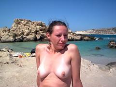 101_1663 by Marcela Nude - Marcela posing topless on Karpathos beach