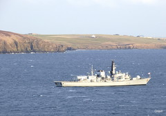 HMS Portland In Scapa Bay (orquil) Tags: uk greatbritain winter sunshine portland islands bay scotland orkney calm february frigate warship hms scapa anchored royalnavy scapaflow type23 atanchor f79